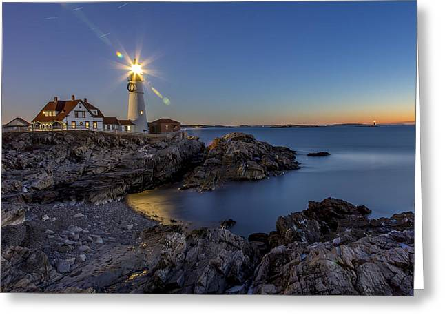 Nautical Twilight At Portland Head Greeting Card by Dave Cleaveland