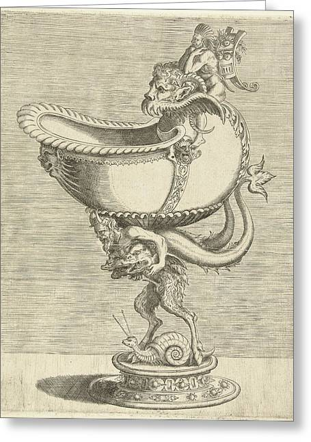 Nautilus Goblet, Resting On The Back Of A Satyr Greeting Card by Balthazar Van Den Bos And Cornelis Floris (ii) And Hieronymus Cock