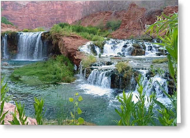 Greeting Card featuring the photograph Navajo Falls by Alan Socolik