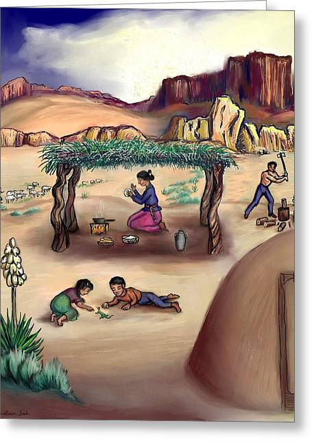 Navajo Family - Age 11 Greeting Card by Dawn Senior-Trask