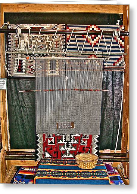 Navajo Loom Inside Desert Watchtower On South Rim Of Grand Canyon National Park-arizona Greeting Card
