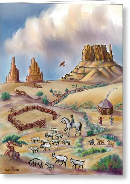 Navajo Sheepherder - Age 11 Greeting Card by Dawn Senior-Trask