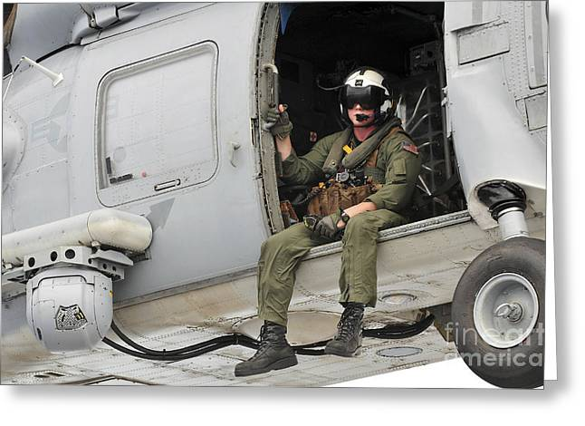 Naval Aircrewman Acts In An Sh-60b Sea Greeting Card by Stocktrek Images
