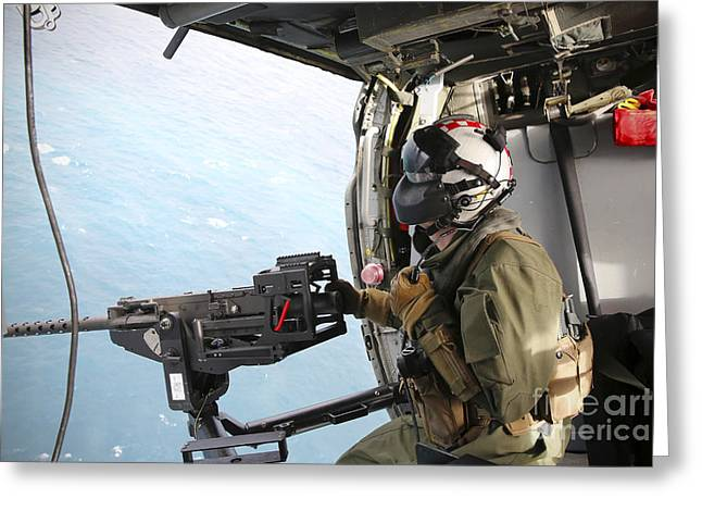 Naval Aircrewman Mans A .50-caliber Greeting Card