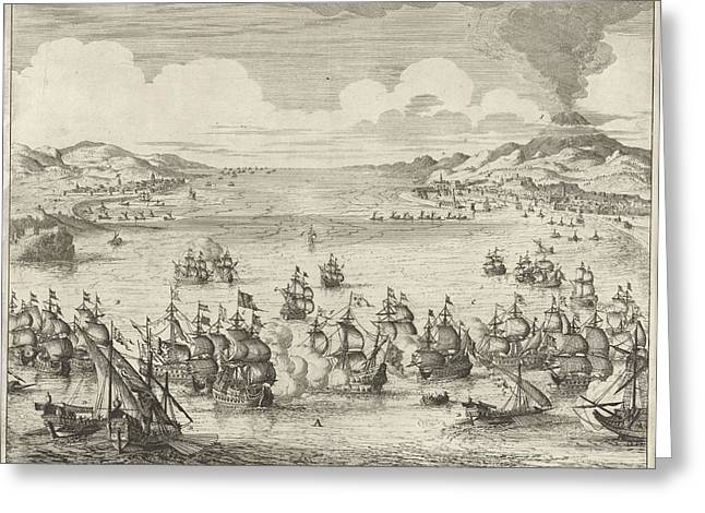 Naval Battle At Agosta, 1676, Jan Luyken Greeting Card by Jan Luyken And Hendrick And Dirk Boom