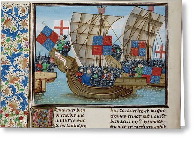 Naval Battle Between France And England Greeting Card by British Library