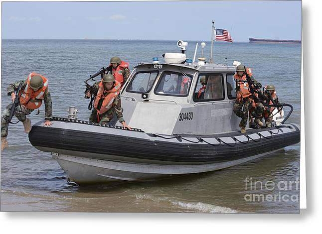 Naval Sea Cadets Arrive On The Beach Greeting Card by Stocktrek Images