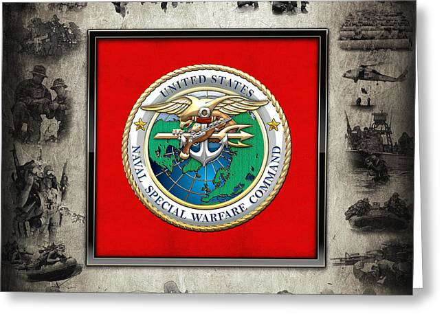 Naval Special Warfare Command - N S W C - Emblem  Over Navy Seals Collage Greeting Card by Serge Averbukh