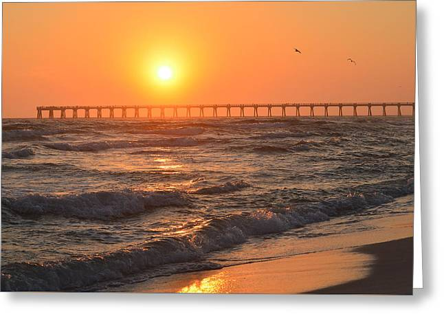 Navarre Beach And Pier Sunset Colors With Birds And Waves Greeting Card