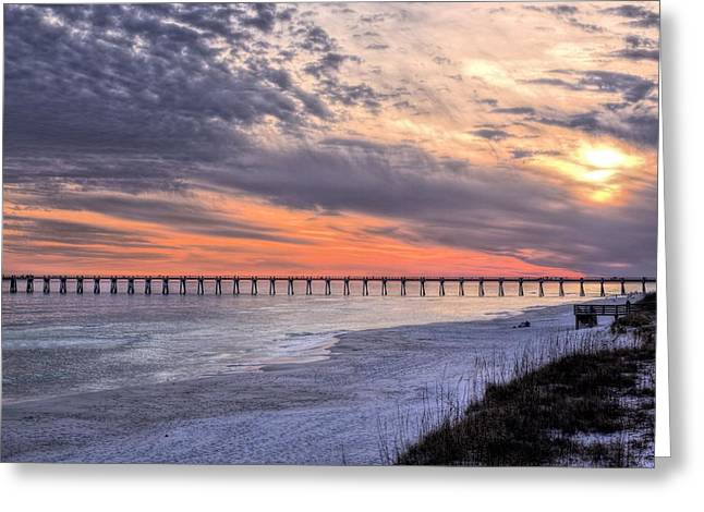Navarre Beach Moods Greeting Card by JC Findley