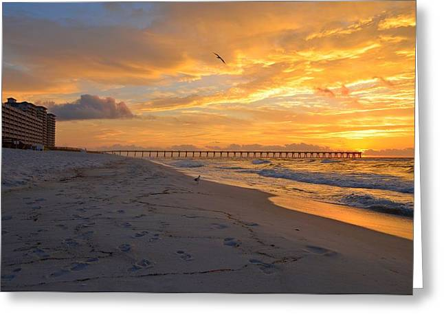 Navarre Pier And Navarre Beach Skyline At Sunrise With Gulls Greeting Card