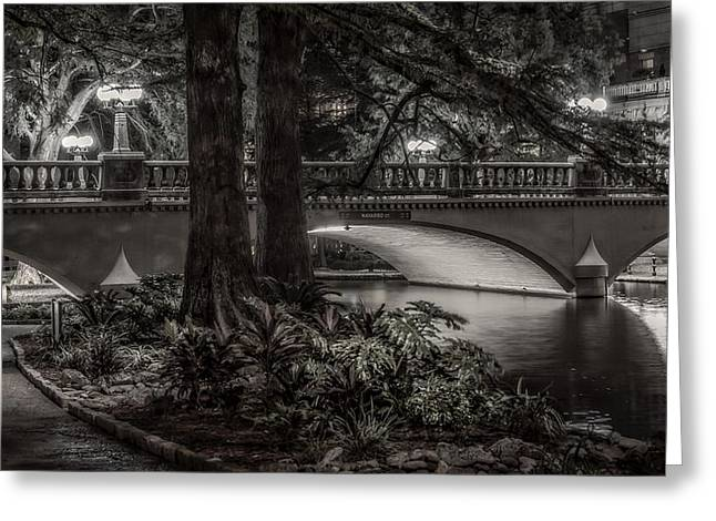 Greeting Card featuring the photograph Navarro Street Bridge At Night by Steven Sparks