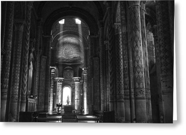 Nave Of Eglise Notre-dame La Grande De Poitiers Greeting Card by RicardMN Photography