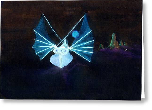 Greeting Card featuring the painting Navire Spectral by Marc Philippe Joly