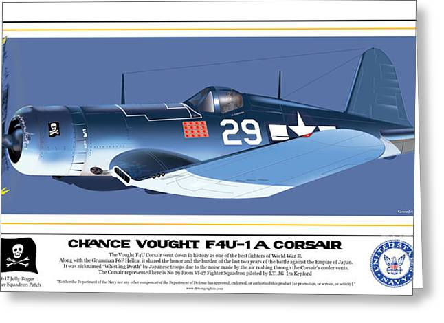 Navy Corsair 29 On Blue Greeting Card by Kenneth De Tore