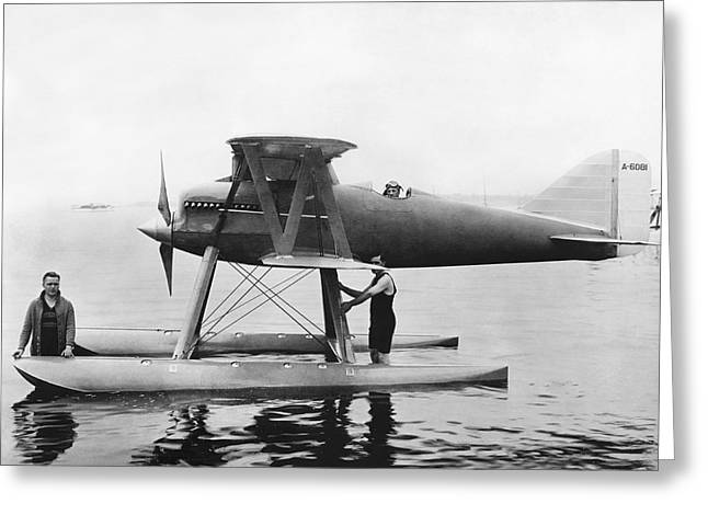 Navy Curtis Seaplane Racer Greeting Card by Underwood Archives