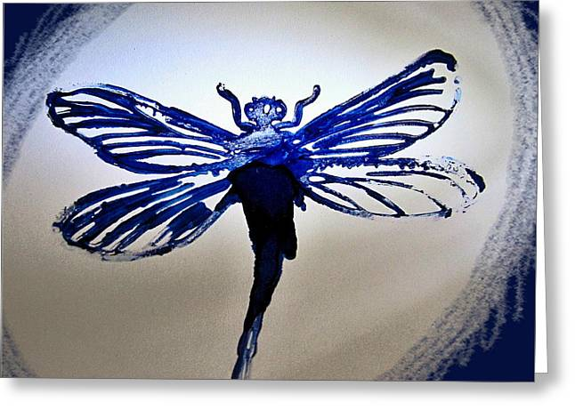 Navy Dragonfly Alcohol Inks  Greeting Card