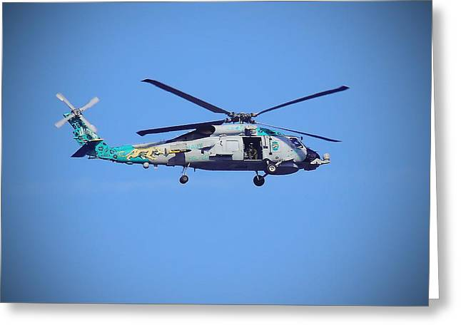 Navy Jaguar Helicopter Greeting Card by Cathy Lindsey