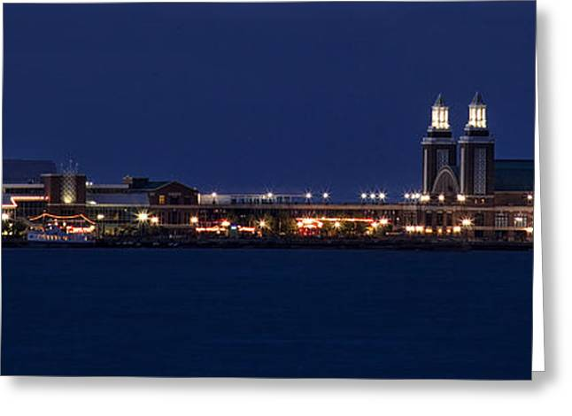 Navy Pier At Twilight Greeting Card by Andrew Soundarajan