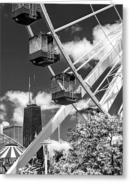 Navy Pier Ferris Wheel Black And White Greeting Card