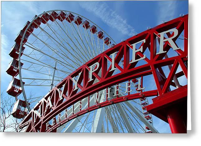 Navy Pier Ferris Wheel Greeting Card by James Hammen
