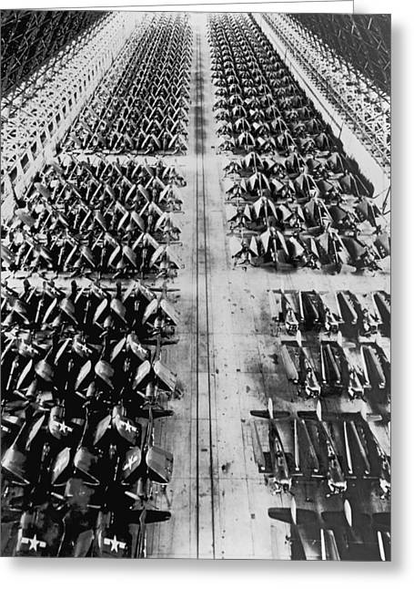 Navy Planes In Storage Greeting Card by Underwood Archives