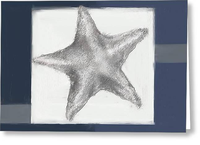 Navy Seashells IIi- Navy And Gray Art Greeting Card by Lourry Legarde