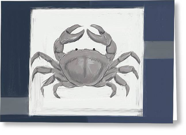 Navy Seashells Iv - Navy And Gray Art Greeting Card by Lourry Legarde