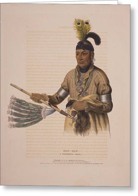 Naw-kaw, A Winnebago Chief  Drawn, Printed & Coloured Greeting Card by Litz Collection