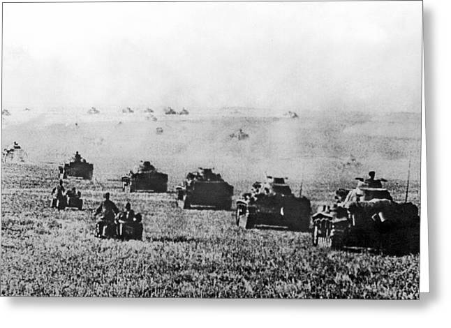 Nazi Tanks Move On Stalingrad Greeting Card by Underwood Archives