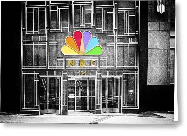 Nbc Facade Selective Coloring Greeting Card by Thomas Woolworth