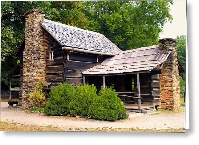 Nc Log Cabin Home Greeting Card by Chris Flees