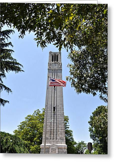 Nc State Memorial Bell Tower And Us Flag Greeting Card