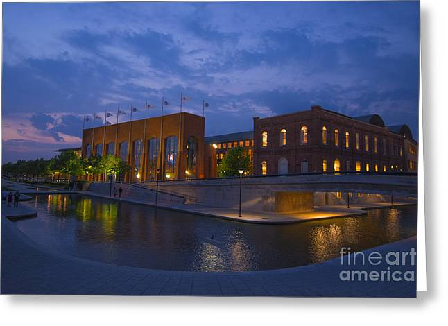 Ncaa Hall Of Champions Blue Hour Wide Greeting Card by David Haskett