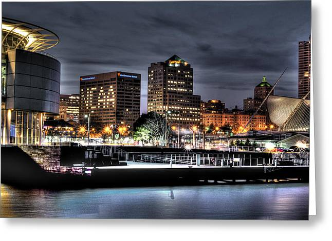 Greeting Card featuring the photograph Ncaa In Lights by Deborah Klubertanz