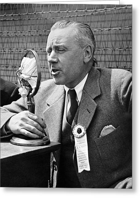 Ncaa Sports Radio Broadcaster Greeting Card by Underwood Archives