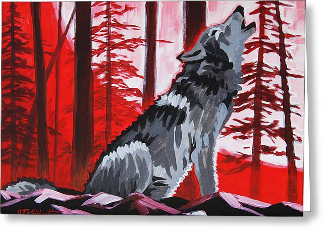 Wolf With Red Sky Greeting Card