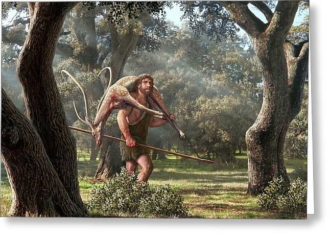 Neanderthal Hunter Greeting Card