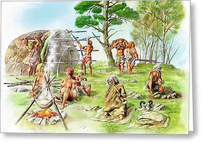 Neanderthal Settlement Greeting Card