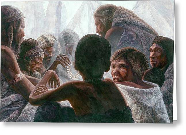 Neanderthals With Modern Humans Greeting Card by Kennis And Kennismsf