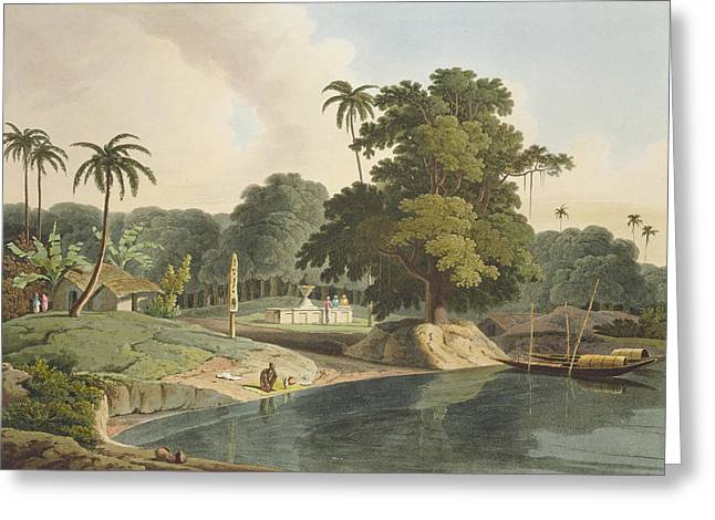 Near Bandell On The River Hoogly, Plate Greeting Card by Thomas & William Daniell