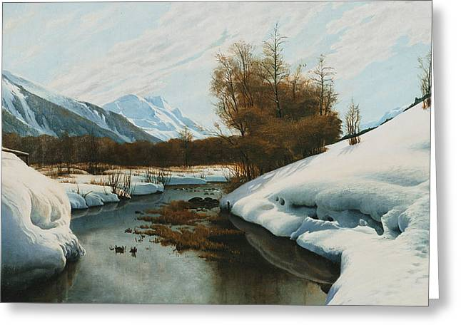 Near La Punt St Morritz In The Engadine Valley Greeting Card by Peder Monsted