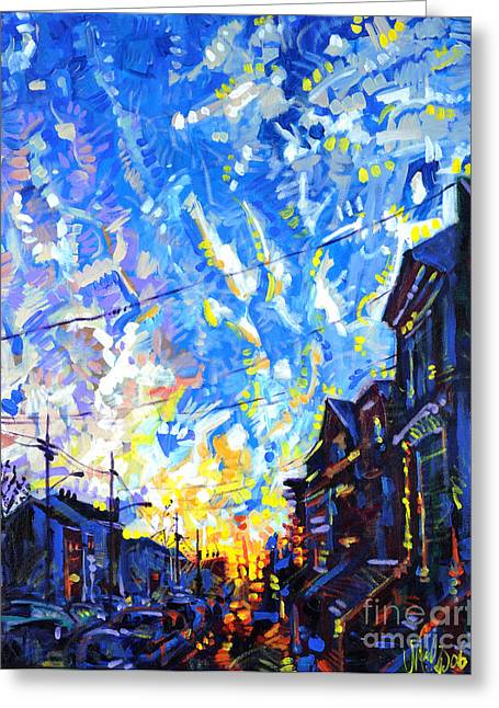 Greeting Card featuring the painting Near Misses In New Brunswick by Michael Ciccotello