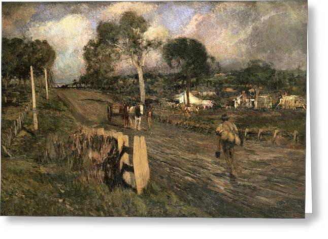 Nearing The Township Greeting Card by Walter Withers