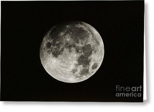 Nearly Full Moon Greeting Card by John Chumack