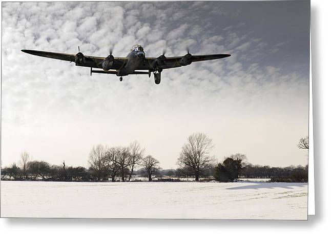 Nearly Home - Lancaster Limping Back In Winter Greeting Card by Gary Eason