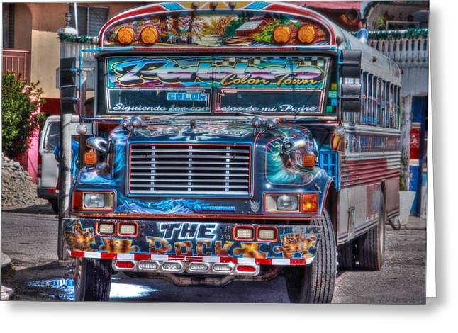Neat Panamanian Graffiti Bus  Greeting Card