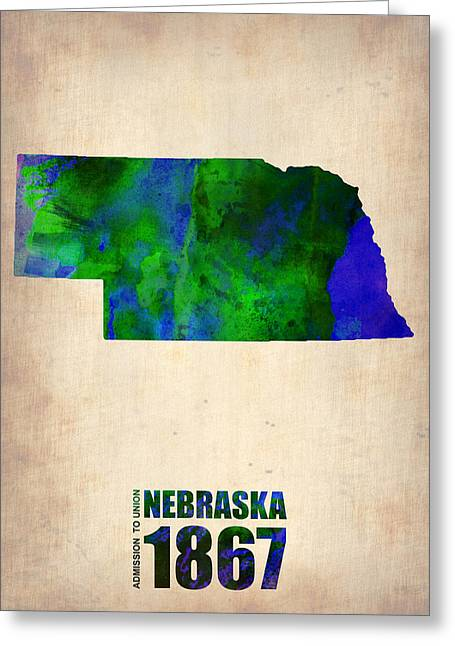 Nebraska Watercolor Map Greeting Card by Naxart Studio