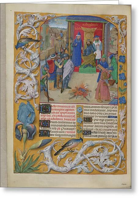 Nebuchadnezzar Burning The Books Greeting Card by British Library