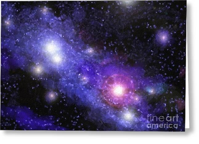 Nebula Digital Painting Greeting Card by Antony McAulay